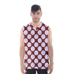 Circles2 White Marble & Reddish Brown Leatherer Men s Basketball Tank Top by trendistuff