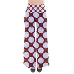 Circles2 White Marble & Reddish Brown Leatherer So Vintage Palazzo Pants