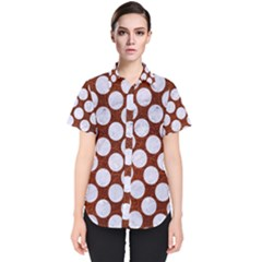 Circles2 White Marble & Reddish Brown Leatherer Women s Short Sleeve Shirt