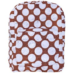 Circles2 White Marble & Reddish Brown Leatherer Full Print Backpack by trendistuff