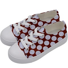 Circles2 White Marble & Reddish Brown Leatherer Kids  Low Top Canvas Sneakers by trendistuff