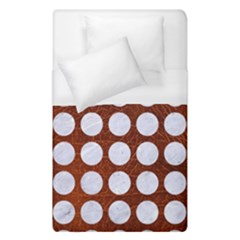 Circles1 White Marble & Reddish Brown Leather Duvet Cover (single Size) by trendistuff