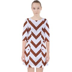 Chevron9 White Marble & Reddish Brown Leather (r) Pocket Dress