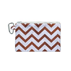 Chevron9 White Marble & Reddish Brown Leather (r) Canvas Cosmetic Bag (small) by trendistuff