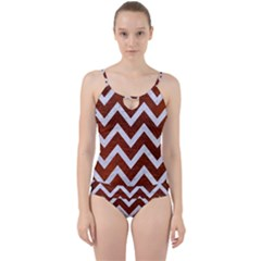 Chevron9 White Marble & Reddish Brown Leather Cut Out Top Tankini Set by trendistuff