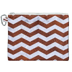 Chevron3 White Marble & Reddish Brown Leather Canvas Cosmetic Bag (xxl) by trendistuff