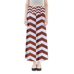 Chevron2 White Marble & Reddish Brown Leather Full Length Maxi Skirt