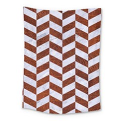 Chevron1 White Marble & Reddish Brown Leather Medium Tapestry