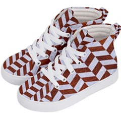 Chevron1 White Marble & Reddish Brown Leather Kid s Hi Top Skate Sneakers by trendistuff