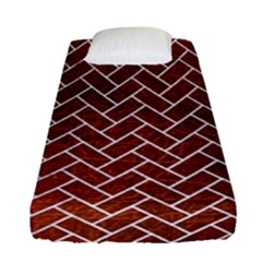 Brick2 White Marble & Reddish Brown Leather Fitted Sheet (single Size) by trendistuff