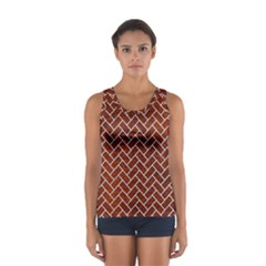 Brick2 White Marble & Reddish Brown Leather Sport Tank Top  by trendistuff