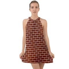 Brick1 White Marble & Reddish Brown Leather Halter Tie Back Chiffon Dress