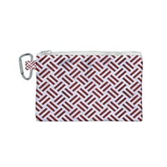 Woven2 White Marble & Red Wood (r) Canvas Cosmetic Bag (small) by trendistuff