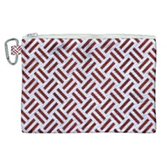 Woven2 White Marble & Red Wood (r) Canvas Cosmetic Bag (xl) by trendistuff