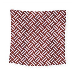 Woven2 White Marble & Red Wood Square Tapestry (small) by trendistuff