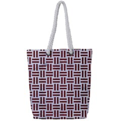 Woven1 White Marble & Red Wood (r) Full Print Rope Handle Tote (small) by trendistuff