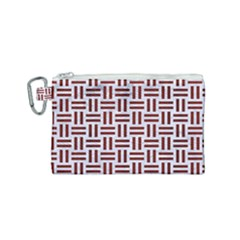 Woven1 White Marble & Red Wood (r) Canvas Cosmetic Bag (small) by trendistuff