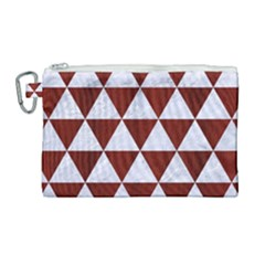 Triangle3 White Marble & Red Wood Canvas Cosmetic Bag (large) by trendistuff