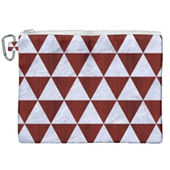 Triangle3 White Marble & Red Wood Canvas Cosmetic Bag (xxl) by trendistuff