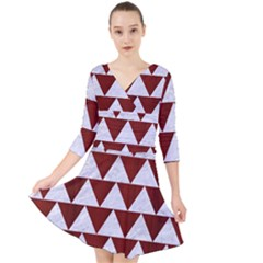 Triangle2 White Marble & Red Wood Quarter Sleeve Front Wrap Dress