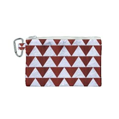 Triangle2 White Marble & Red Wood Canvas Cosmetic Bag (small)