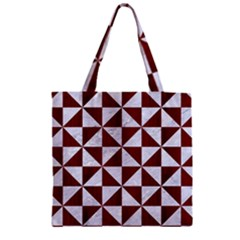 Triangle1 White Marble & Red Wood Zipper Grocery Tote Bag