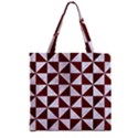TRIANGLE1 WHITE MARBLE & RED WOOD Zipper Grocery Tote Bag View1