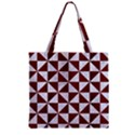 TRIANGLE1 WHITE MARBLE & RED WOOD Zipper Grocery Tote Bag View2