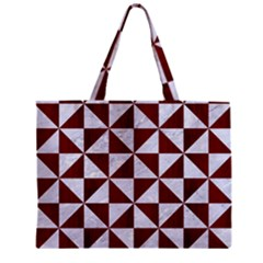 Triangle1 White Marble & Red Wood Zipper Mini Tote Bag by trendistuff