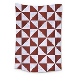 Triangle1 White Marble & Red Wood Large Tapestry by trendistuff