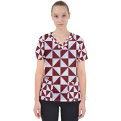 Triangle1 White Marble & Red Wood Scrub Top