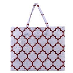 Tile1 White Marble & Red Wood (r) Zipper Large Tote Bag by trendistuff