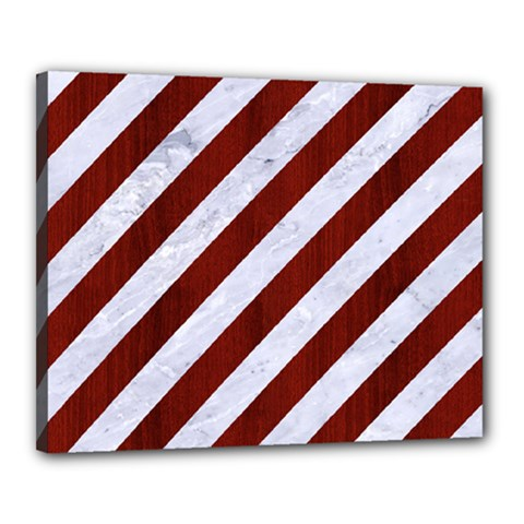 Stripes3 White Marble & Red Wood (r) Canvas 20  X 16  by trendistuff