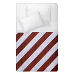 Stripes3 White Marble & Red Wood (r) Duvet Cover (single Size) by trendistuff
