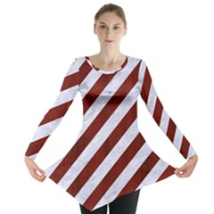 Stripes3 White Marble & Red Wood (r) Long Sleeve Tunic