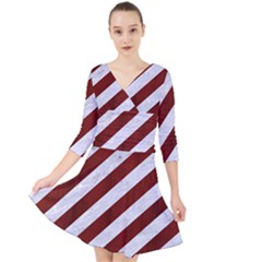 Stripes3 White Marble & Red Wood (r) Quarter Sleeve Front Wrap Dress