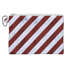 Stripes3 White Marble & Red Wood (r) Canvas Cosmetic Bag (xl) by trendistuff