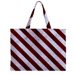 Stripes3 White Marble & Red Wood Zipper Mini Tote Bag by trendistuff