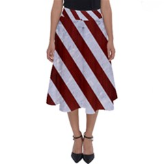 Stripes3 White Marble & Red Wood Perfect Length Midi Skirt