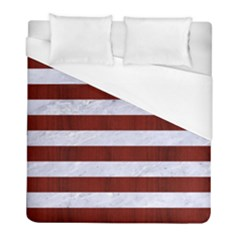 Stripes2white Marble & Red Wood Duvet Cover (full/ Double Size) by trendistuff