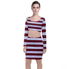 Stripes2white Marble & Red Wood Long Sleeve Crop Top & Bodycon Skirt Set