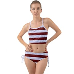 Stripes2white Marble & Red Wood Mini Tank Bikini Set