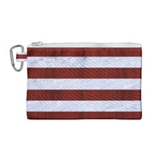 Stripes2white Marble & Red Wood Canvas Cosmetic Bag (medium) by trendistuff