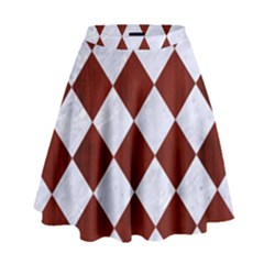Square2 White Marble & Red Wood High Waist Skirt by trendistuff