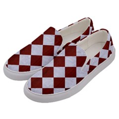 Square2 White Marble & Red Wood Men s Canvas Slip Ons by trendistuff