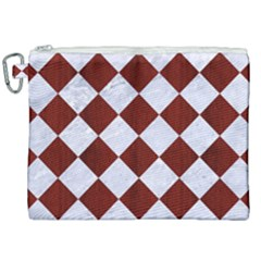 Square2 White Marble & Red Wood Canvas Cosmetic Bag (xxl) by trendistuff