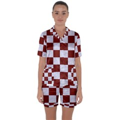 Square1 White Marble & Red Woodsquare1 White Marble & Red Wood Satin Short Sleeve Pyjamas Set by trendistuff