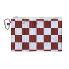 Square1 White Marble & Red Woodsquare1 White Marble & Red Wood Canvas Cosmetic Bag (large) by trendistuff