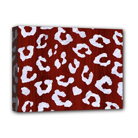 Skin5 White Marble & Red Wood (r) Deluxe Canvas 16  X 12   by trendistuff