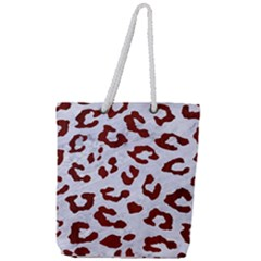 Skin5 White Marble & Red Wood Full Print Rope Handle Tote (large) by trendistuff